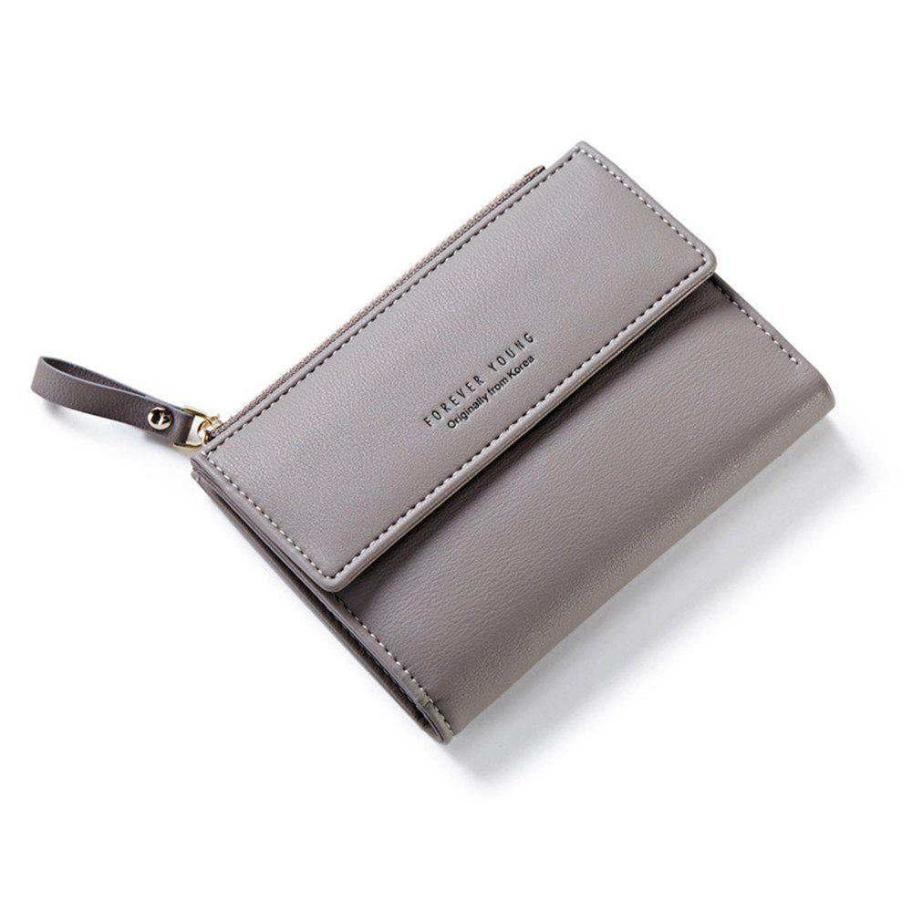 Zipper Court Standard Portefeuille Mode PU En Cuir Solid Coin Carte Purse Femmes Lady Embrayage - gris