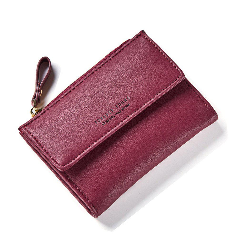 Zipper Court Standard Portefeuille Mode PU En Cuir Solid Coin Carte Purse Femmes Lady Embrayage - Rouge vineux