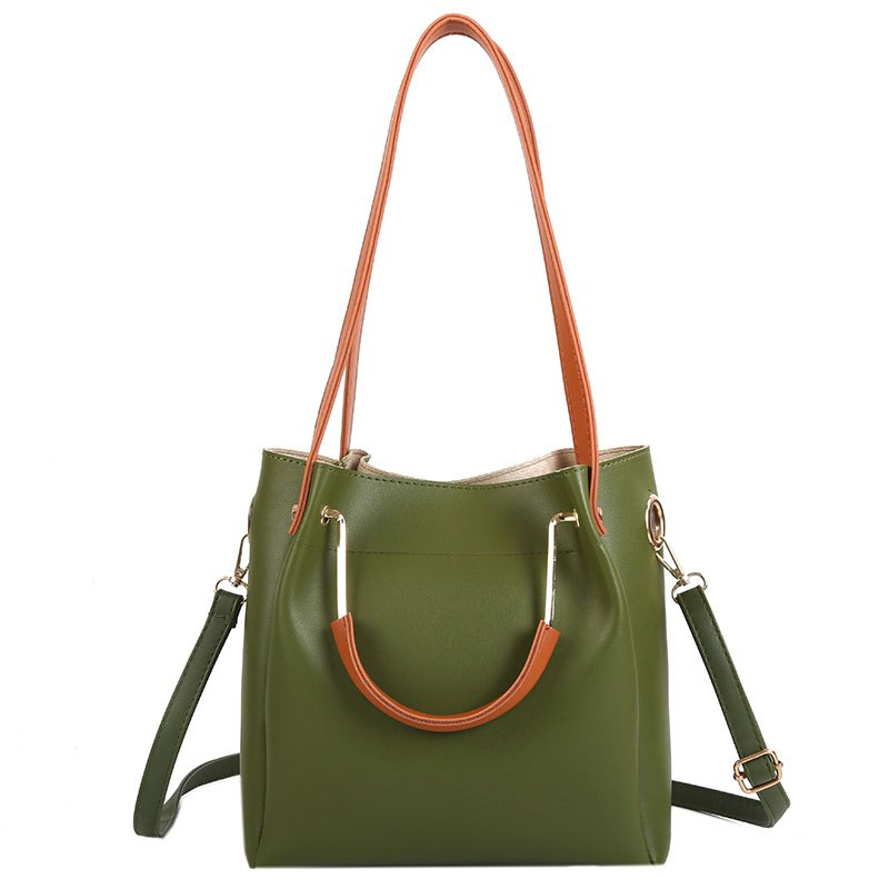 Women Shoulder Bag Metal Handbag Temperament Bucket Bag - GREEN