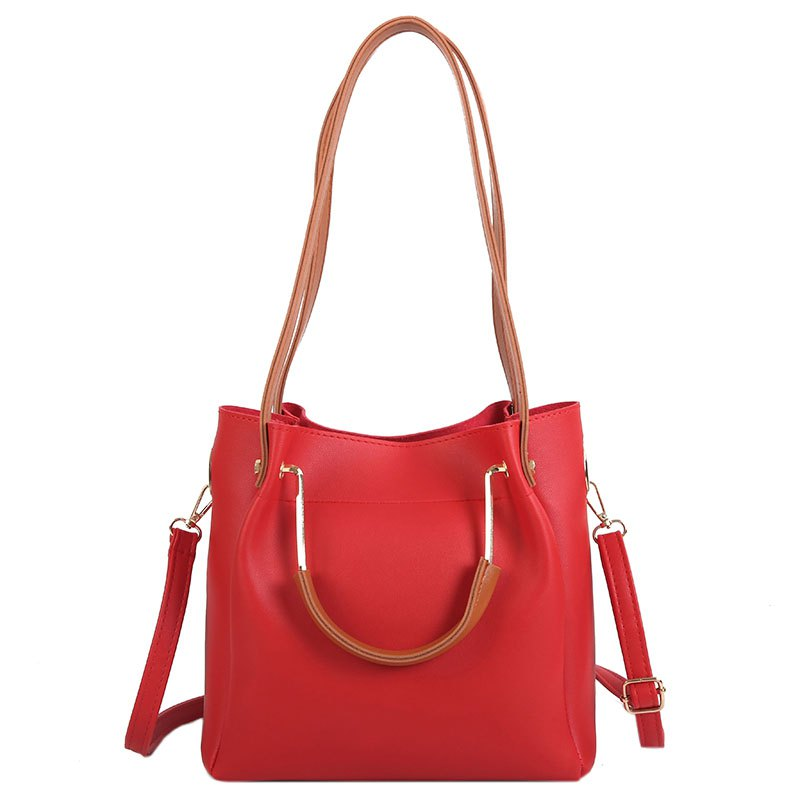 Women Shoulder Bag Metal Handbag Temperament Bucket Bag - RED
