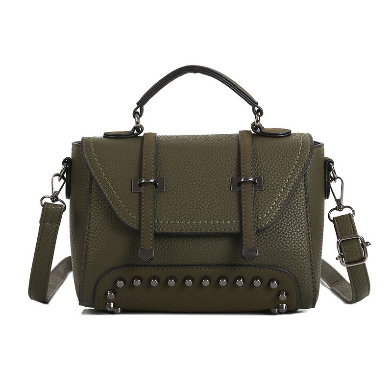Double Arrow Bag New Handbag Decorative Rivets Cross-body Bag - GREEN
