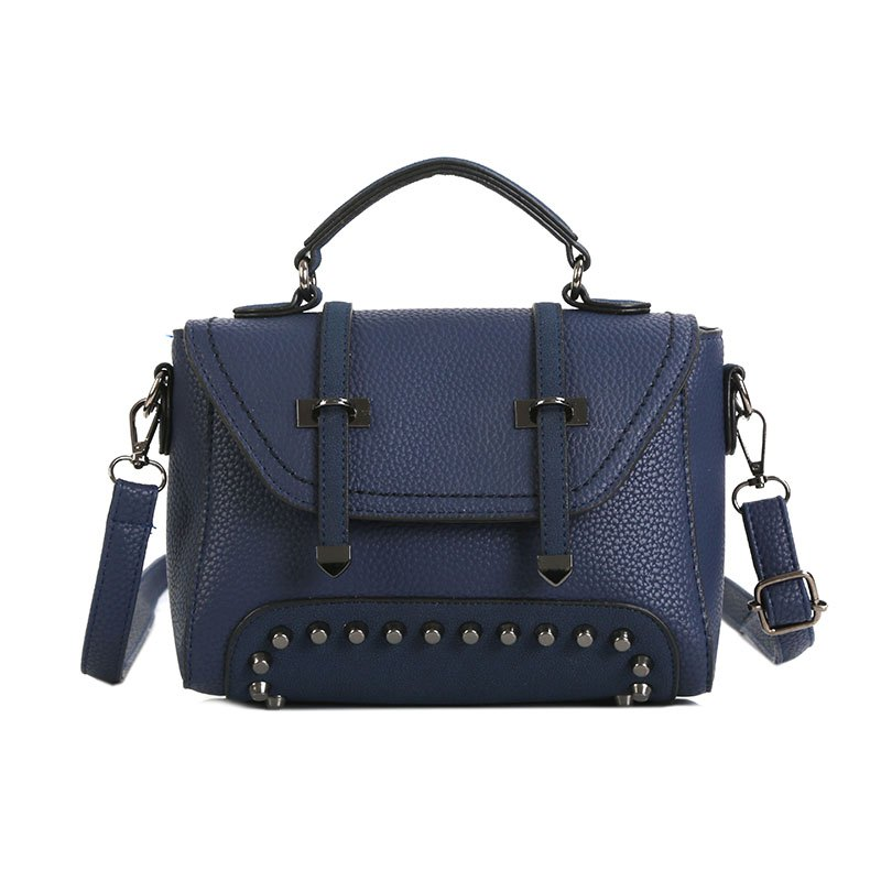 Double Arrow Bag New Handbag Decorative Rivets Cross-body Bag - BLUE