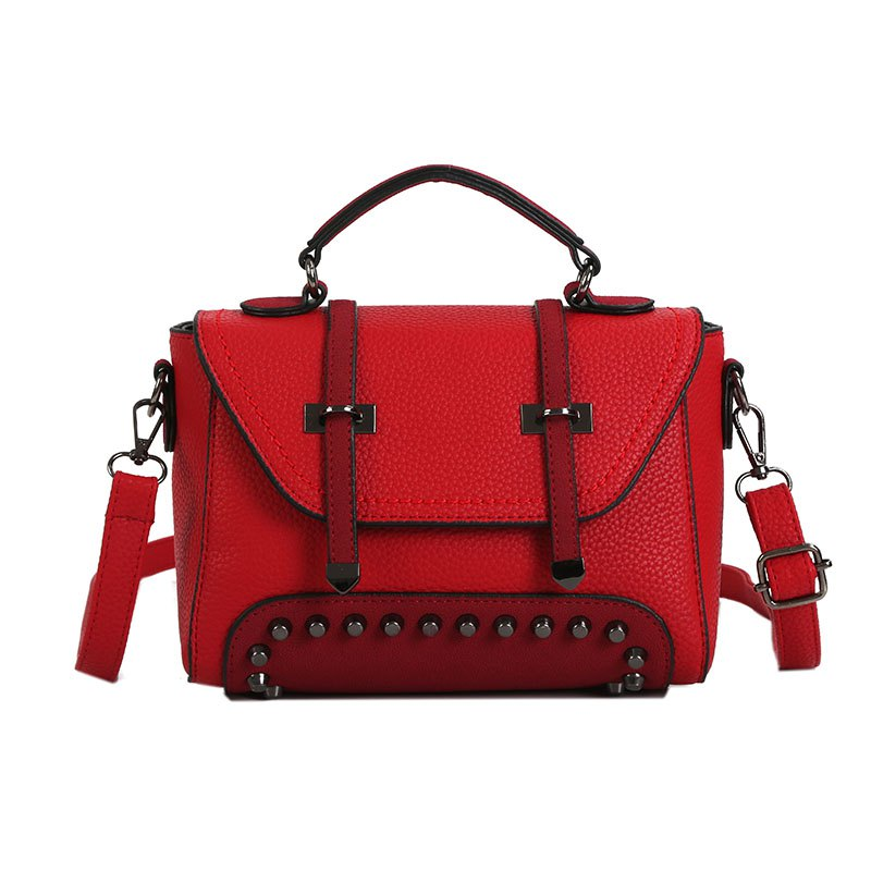 Double Arrow Bag New Handbag Decorative Rivets Cross-body Bag - RED