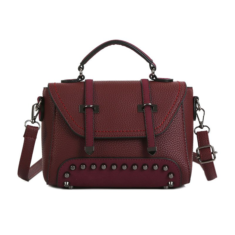 Double Arrow Bag New Handbag Decorative Rivets Cross-body Bag - PURPLISH RED