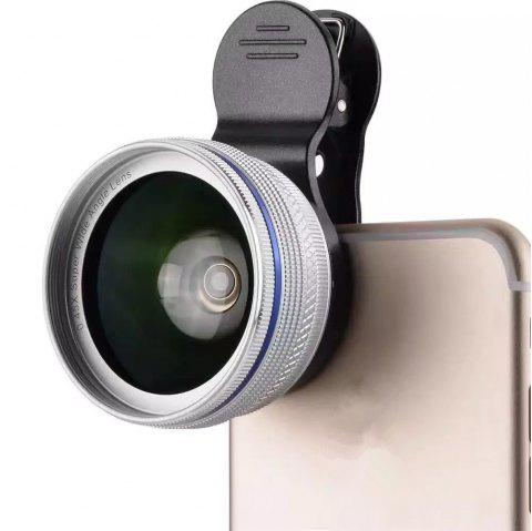 Phone Camera Lens  2 in 1 Professional HD Camera Lens Kit [0.45X Wide Angle+12.5X Macro] Clip-On Design for Smartphones - SILVER