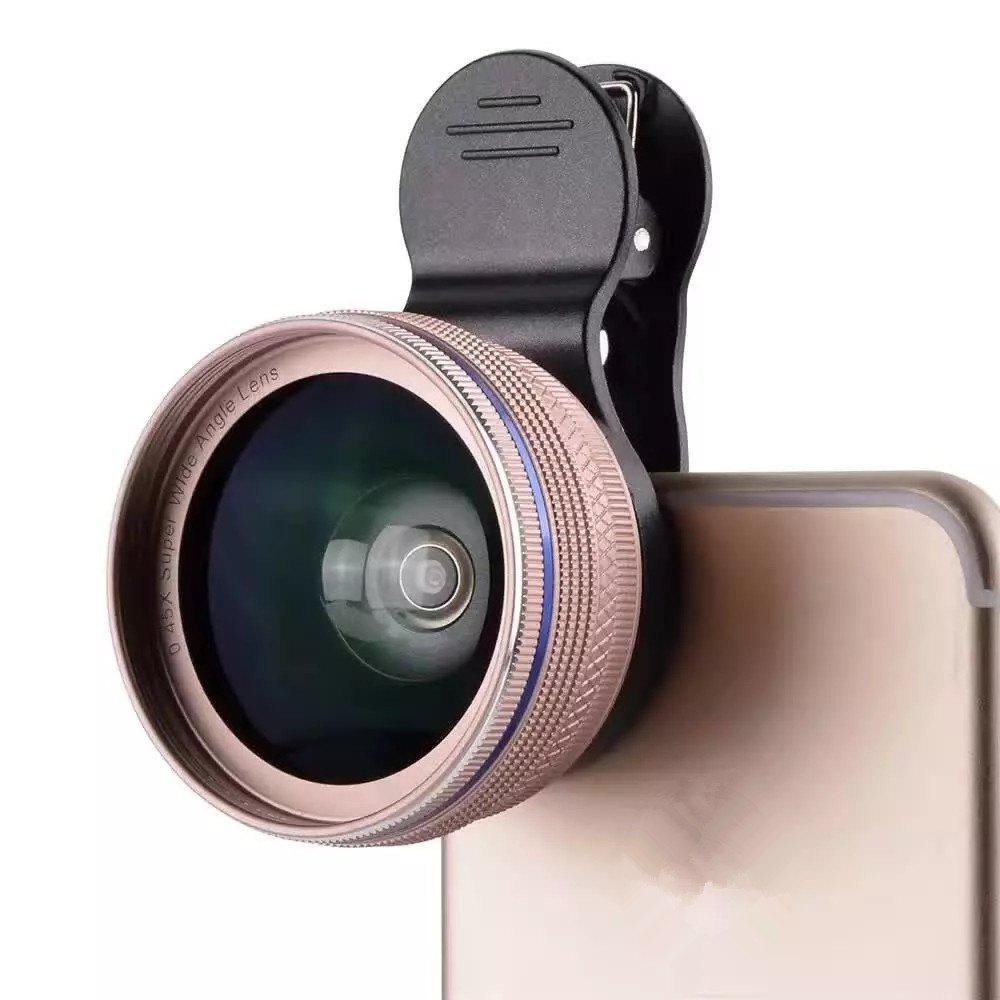 Phone Camera Lens  2 in 1 Professional HD Camera Lens Kit [0.45X Wide Angle+12.5X Macro] Clip-On Design for Smartphones - ROSE RED