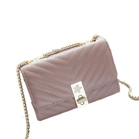 Ladies Quilting Mental Lock Chain Shoulder Bag - PINK