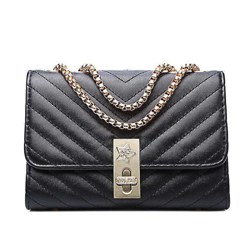 Ladies Quilting Mental Lock Chain Shoulder Bag - BLACK