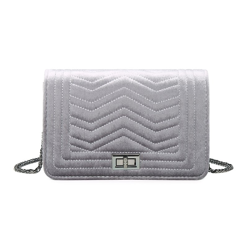 Lady Classic Velvet Chain Crossbody Bag - GRAY