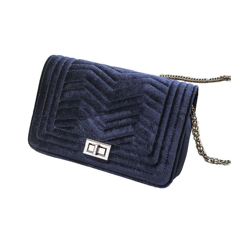 Lady Classic Velvet Chain Crossbody Bag - CERULEAN