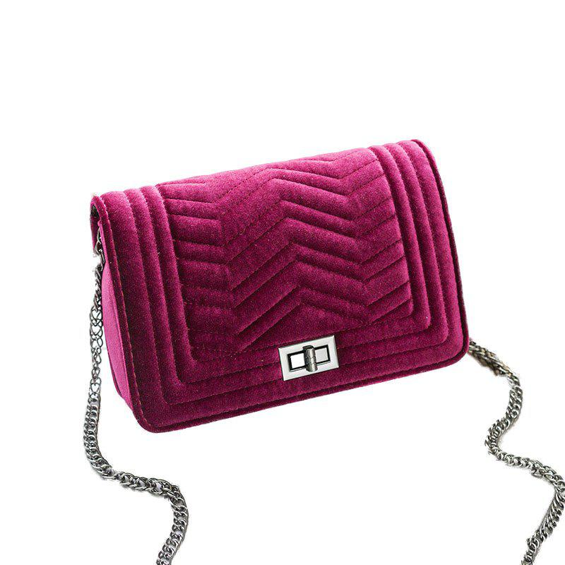 Lady Classic Velvet Chain Crossbody Bag - RED