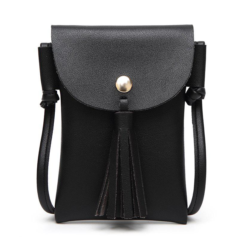 Ladies Casual College Wind Tassel Crossbody Bag - BLACK