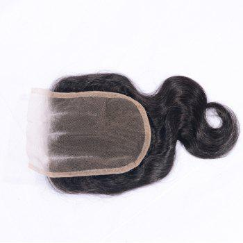 Three Part Human Hair Swiss Lace Virgin Brazilian Body Wave Closure Bleached Knots Baby Hair Natural Color 4x4 Closures - AS THE PICTURE 16 INCHES