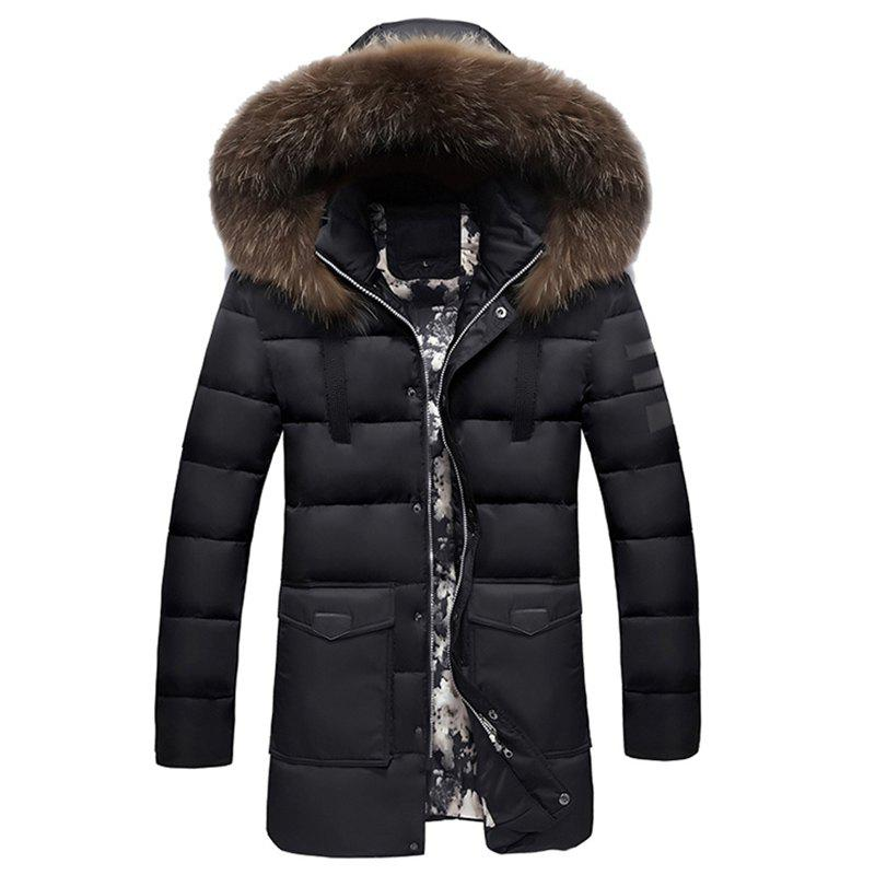 Winter Wear Men'S Fur Collar Cotton Clothes Fashionable and Casual Pure Color Long - Style Warm Cotton Coat winter new fashion women coat leisure big yards thick warm cotton cotton coat hooded pure color slim fur collar jacket g2309