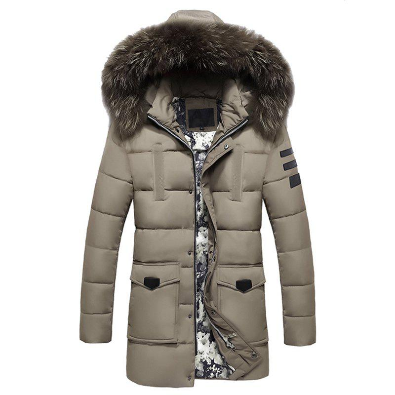 Winter Wear Men'S Fur Collar Cotton Clothes Fashionable and Casual Pure Color Long - Style Warm Cotton Coat, Khaki