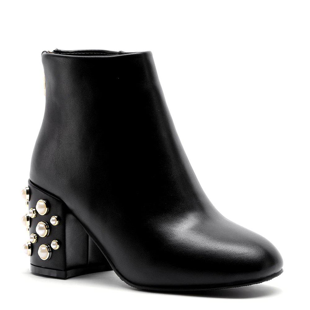 Faux Pearl Back Zipper PU Ankle Boots faux pearl