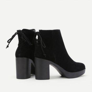 Lace Up Back Block Heeled Boots - BLACK 37