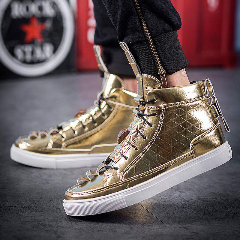 Men High Top Shoes,Autumn Hip Hop Casual Shoes - GOLD 42