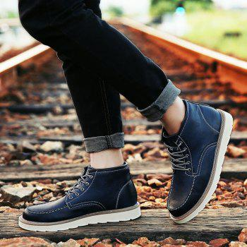 Men's High Top Ankle Boots Lace Up Leather Shoes Martin Boots Business Shoes Winter Dress Shoes - BLUE 9
