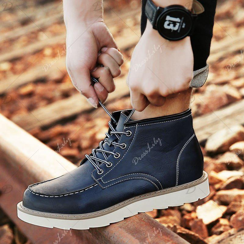 Men's High Top Ankle Boots Lace Up Leather Shoes Martin Boots Business Shoes Winter Dress Shoes - BLUE 8