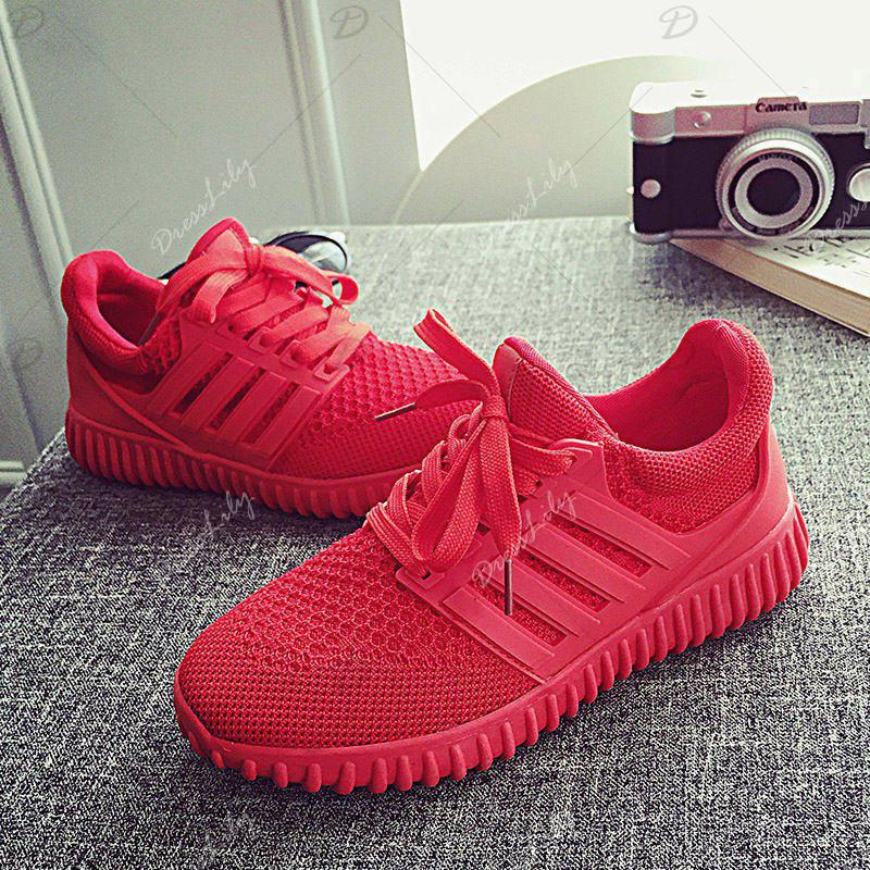 Sneakers Chaussures Femme 2016 Nouvelle Mode Plat avec Respirant Femmes Chaussures Style Maille Femmes Casual Chaussures - Noir 8.5