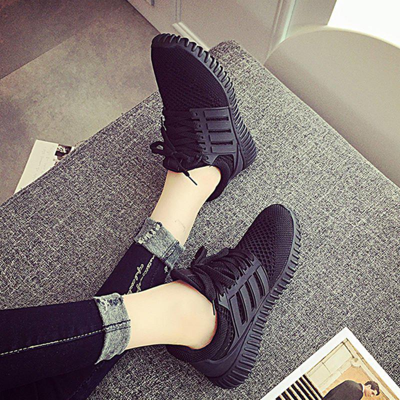 Sneakers Shoes Woman 2016 New Fashion Flat with Breathable Women Shoes Style Mesh Women Casual Shoes - BLACK 8.5