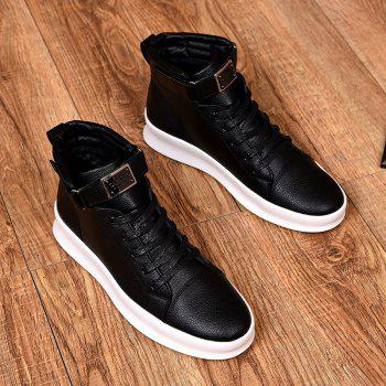 Sport Sneakers Fashion Ankel Boots Hip Hop High Top Boots Hiking Flats pu Leather Boot - RED RED