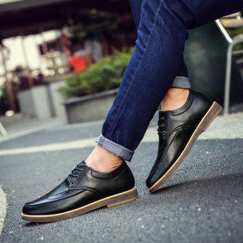 Men's Casual Leather Shoes Slip-on Loafers Lace Up Dress Shoes Business Shoes - GREY GREY