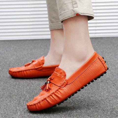 Lace Up Leather Loafers Men's Slip-on Flats Shoes Leisure Casual Shoes Slip-on Tassel Shoes - ORANGE 10