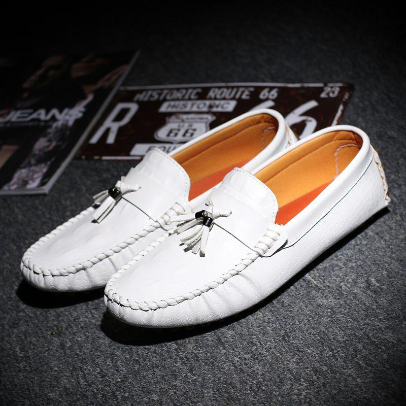 Mocassins en cuir à lacets Slip-on Flats hommes Chaussures Loisirs Chaussures Casual Slip-on Tassel Shoes - Orange 10