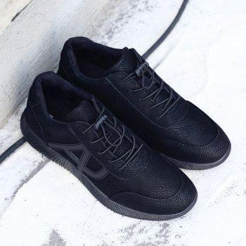Men's Casual Sports Shoes Lace Up Loafers Outdoor Sneakers - BLACK 9.5