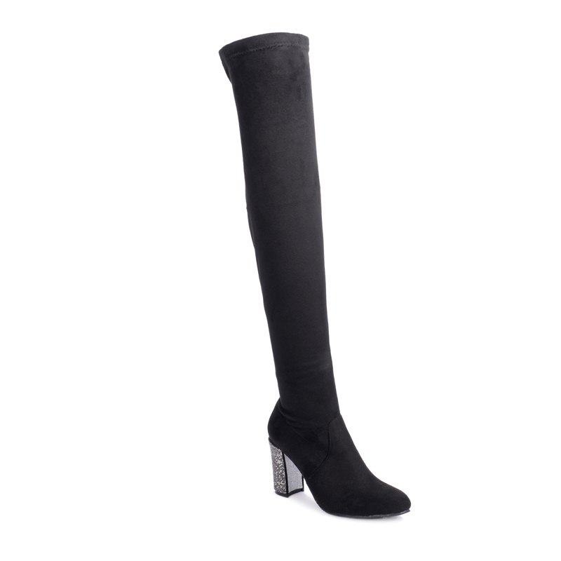 The Lady'S Long Tube Is Thick with Boots - BLACK 36