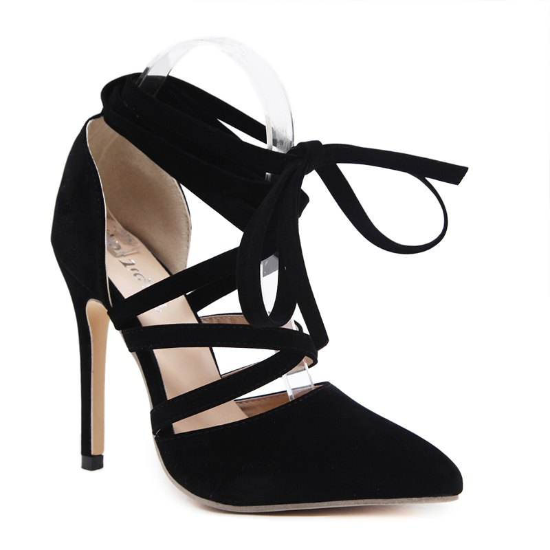 The Lady Has A Hollow Strap with High Heels - BLACK 36