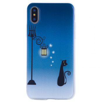 For Iphone X Embossed Matte Transparent TPU Blue Cat Phone Case -  BLUE
