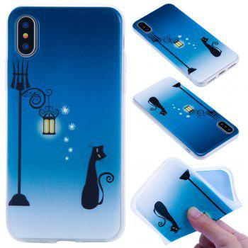 For Iphone X Embossed Matte Transparent TPU Blue Cat Phone Case - BLUE BLUE