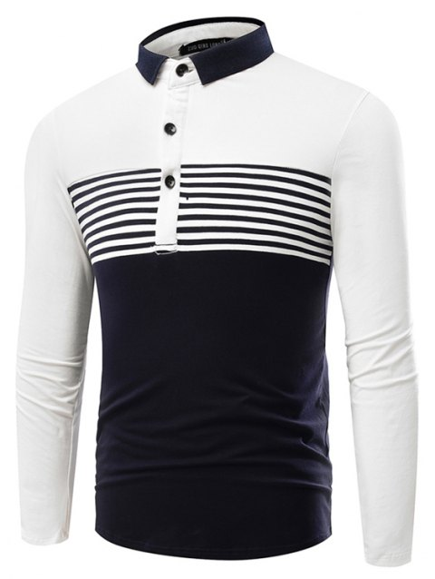 Fashion Cotton Lapel Men'S Long-Sleeved POLO Shirt Men T Shirt - WHITE M