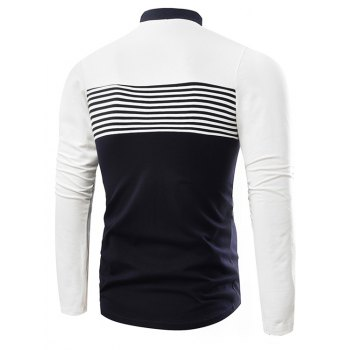 Fashion Cotton Lapel Men'S Long-Sleeved POLO Shirt Men T Shirt - WHITE 3XL