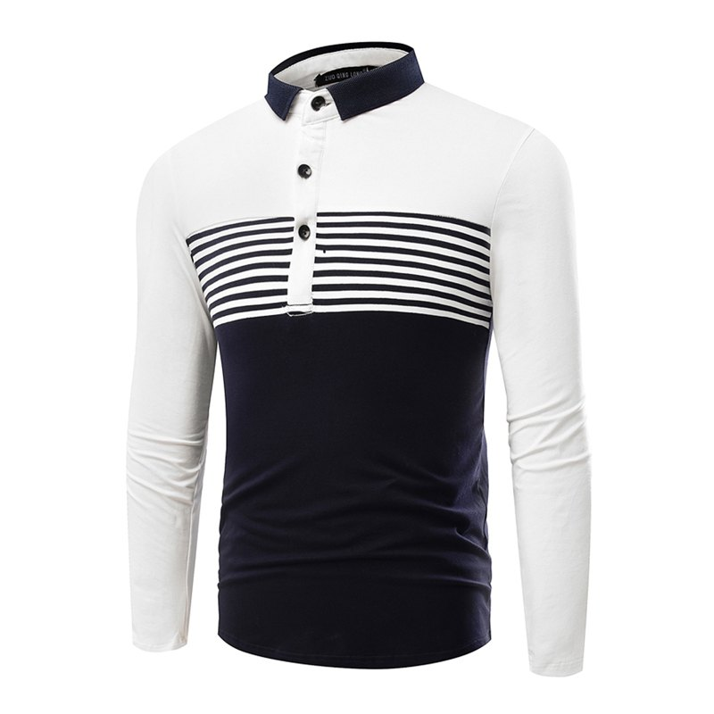Fashion Cotton Lapel Men'S Long-Sleeved POLO Shirt Men T Shirt - WHITE L