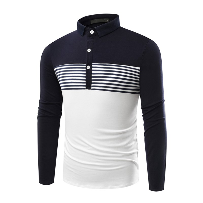 Fashion Cotton Lapel Men'S Long-Sleeved POLO Shirt Men T Shirt - ROYAL XL