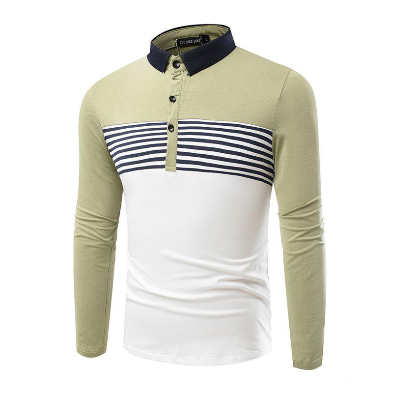 Fashion Cotton Lapel Men'S Long-Sleeved POLO Shirt Men T Shirt - IVY 2XL