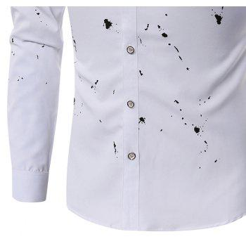Casual Fashion Casual Ink Men'S Long-Sleeved Shirt Men - WHITE M