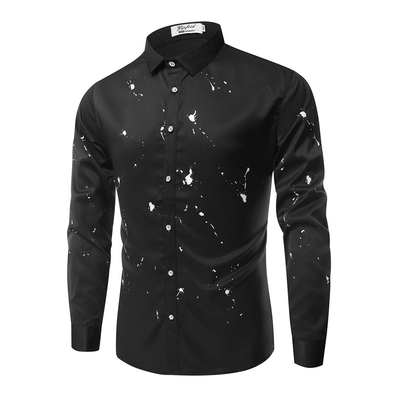 Casual Fashion Casual Ink Men'S Long-Sleeved Shirt Men - BLACK 3XL