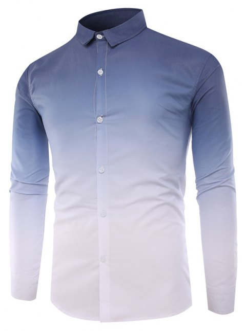 Men'S Casual Long-Sleeved Shirt Men'S Casual Gradient Color - CADETBLUE L