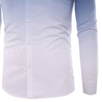 Men'S Casual Long-Sleeved Shirt Men'S Casual Gradient Color - CADETBLUE 2XL