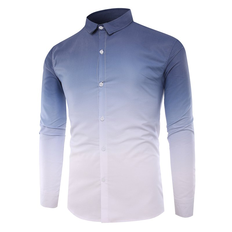 Men'S Casual Long-Sleeved Shirt Men'S Casual Gradient Color - CADETBLUE M