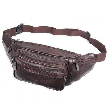Fashion Genuine Leather Waist Bag Men's Multifunction Travel Bags Chest Pack Men Waist pack - BURGUNDY BURGUNDY