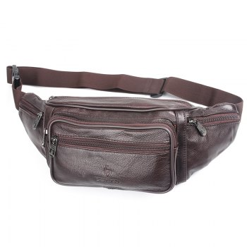 Fashion Genuine Leather Waist Bag Men's Multifunction Travel Bags Chest Pack Men Waist pack -  BURGUNDY