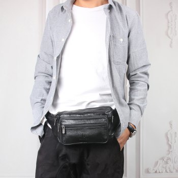 Fashion Genuine Leather Waist Bag Men's Multifunction Travel Bags Chest Pack Men Waist pack -  BLACK
