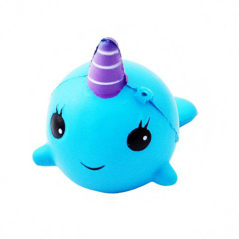 11CM Soft Whale Cartoon Squishy Slow Rising Squeeze Toy - BLUE