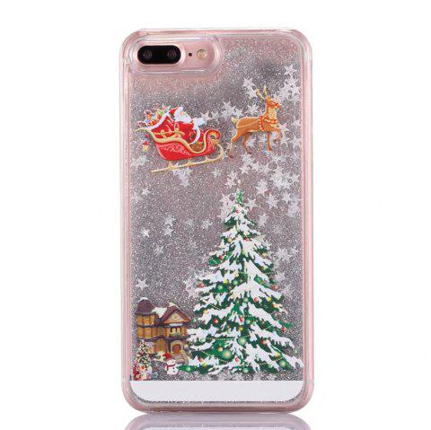 Christmas Element Liquid Sparkle Floating Luxury Protective Bumper Silicone Cove for iPhone 7 Plus / 8  Plus - GRAY